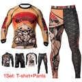 Men's Jiu Jitsu Rashguard Fishing T-shirts Long Sleeve Kickboxing Muay Thai T-shirt Printed Bjj Tights MMA Boxing Fightwear