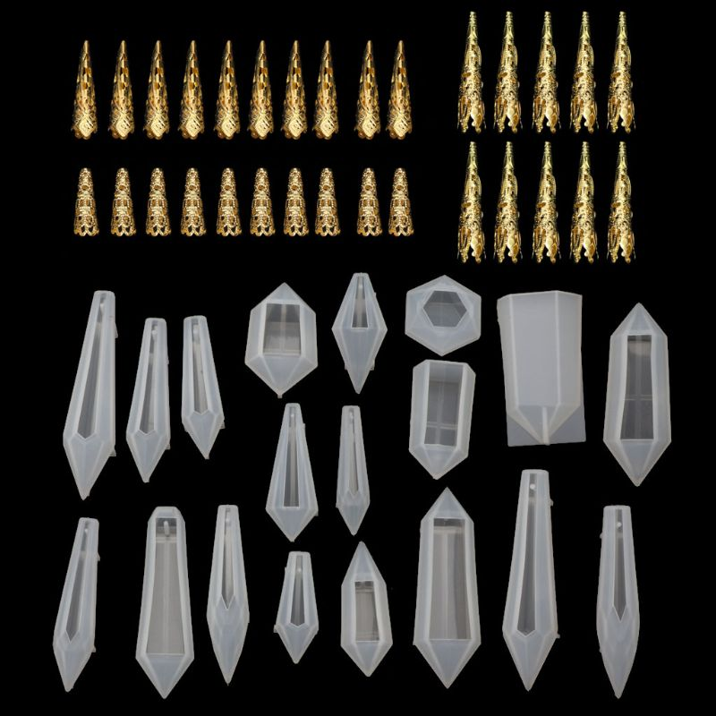 19Pcs Resin Pendulum Molds Silicone Quartz Crystal Molds with 30Pcs Metal Bead Caps Epoxy UV Resin Molds Jewelry Tools