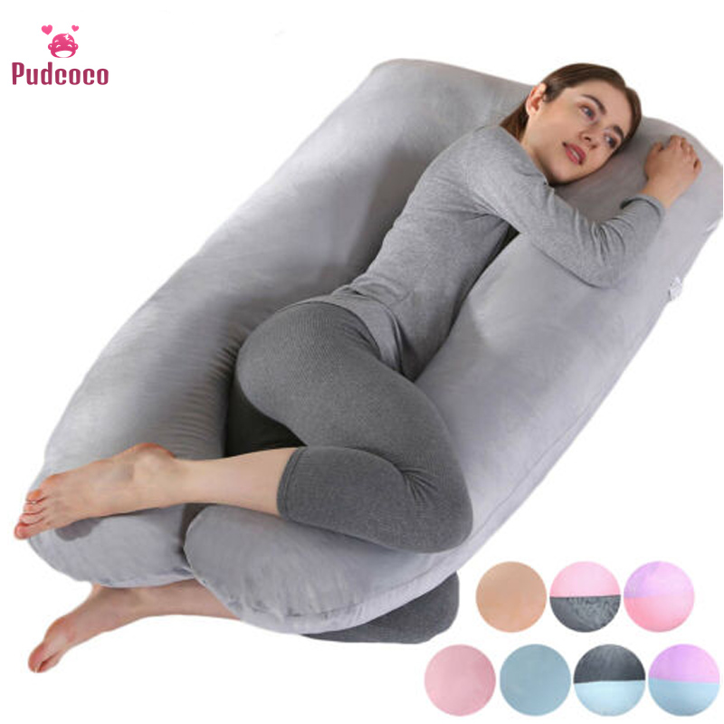 Pudcoco Women Soft Pregnant Pillow Sleeping Pillow Pregnancy Back Support Nursing Pillow U-shape Cotton Solid Coushin Pillowcase