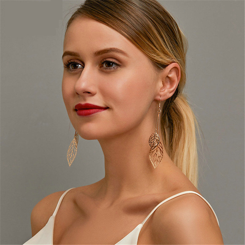 Europe America Exaggeration Large Versions Multi-Layered Tassel Hollow out Leaf Drop Earrings Foreign Trade Vintage Women's Ear