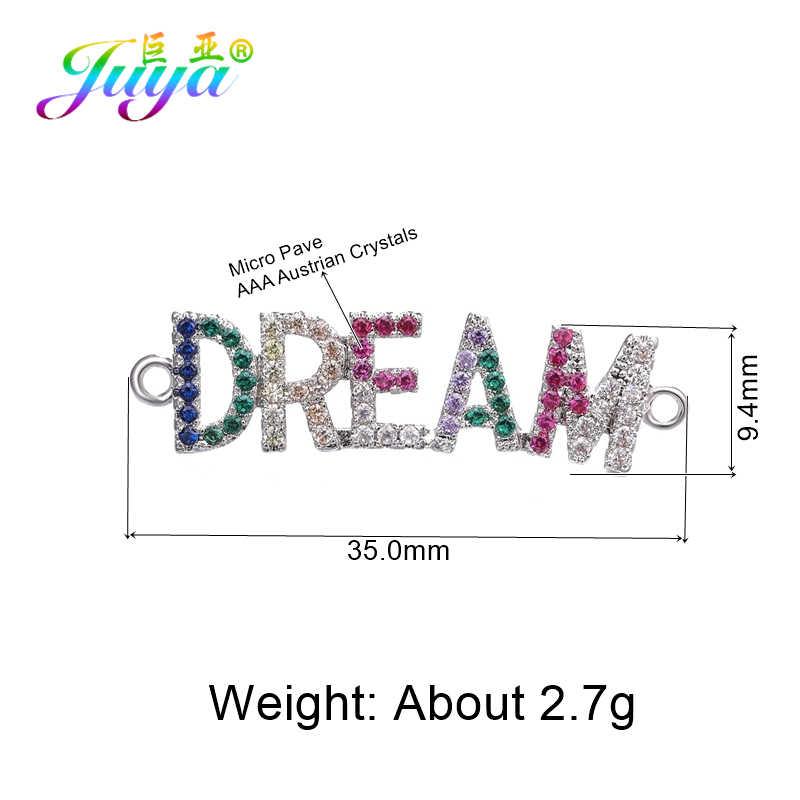 Juya DIY 友情ブレスレット作るアクセサリーカラフルなジルコンママ少年少女コネクタチャーム針仕事ジュエリーコンポーネント