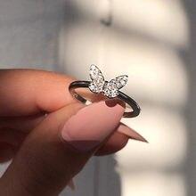 Moda feminina cristal borboleta anéis para mulher doce linda festa anéis jóias presentes