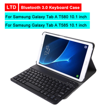 Bluetooth 3.0 Tablet Keyboard Case For Samsung Galaxy Tab A T580 T585 10.1 inch Mediapad Stand Flip Leather Cover With Keyboard цена 2017