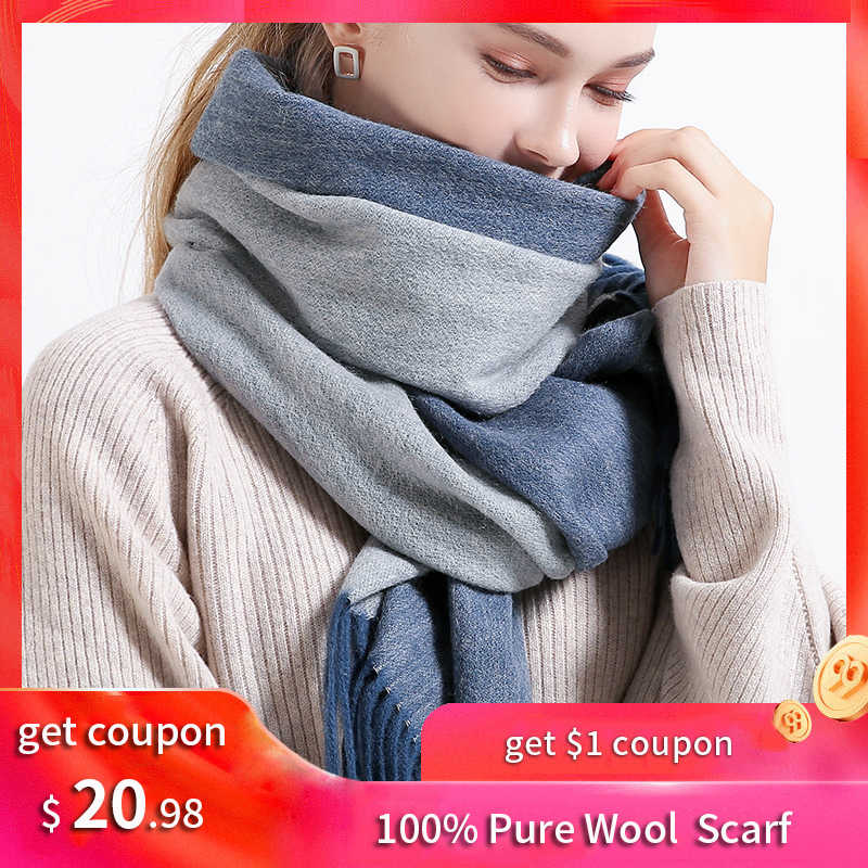 Reversible Women 100% Lamb Wool Scarves Two-sided Russian Warm Wool Echarpe Warps for Ladies Solid Blue Winter Cashmere Scarves