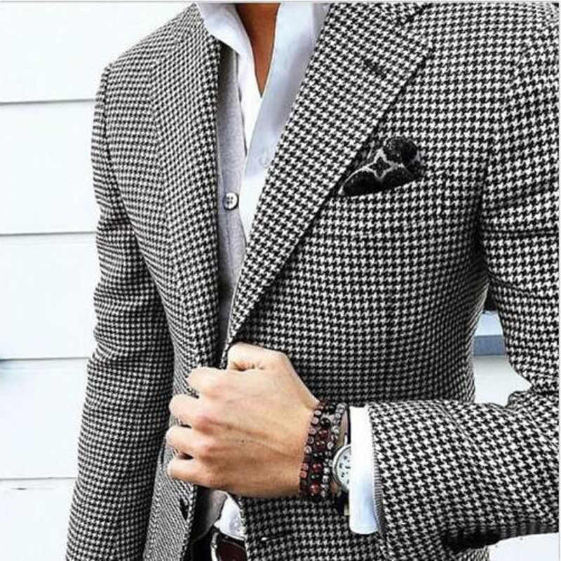 Tailor Made Houndstooth Mens Suits voor Fall Wedding Prom Stage Classic 2 Stuk Man Set Jas met Zwarte Broek Bruidegom tuxedos