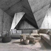 Пользовательские обои 3d стерео пространство серый цемент настенная