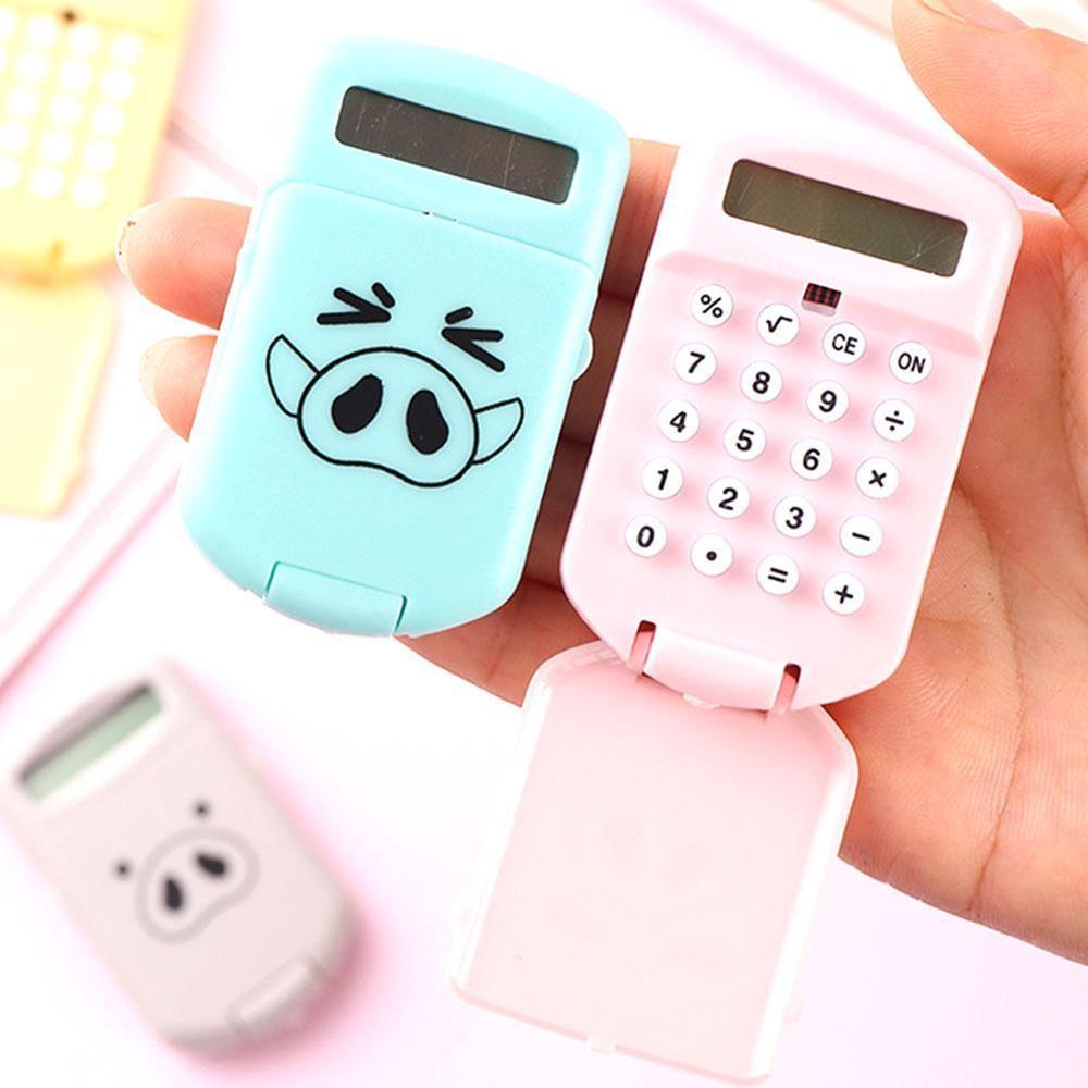 Portable Kawaii Calculator Pocket Size 8 Digits Display Cartoon Mini Ultra-thin Button Battery Cute Calculator School Supplies