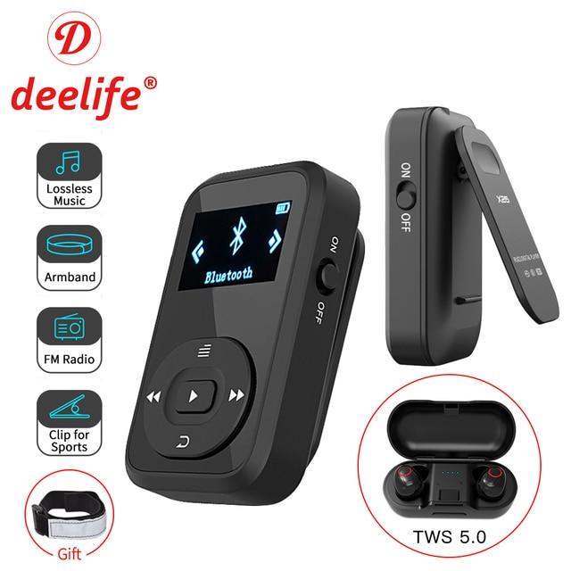 Deelife Sport Kit Met Bluetooth Mp3 Speler En Tws Echte Draadloze Bluetooth Hoofdtelefoon Voor Running Jogging Met Fm Record