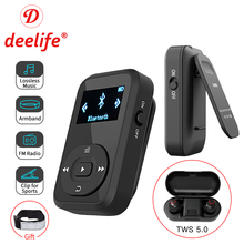 Deelife Sports kit with Bluetooth mp3 Player and TWS True Wireless Bluetooth Headphone for Running Jogging with FM Record