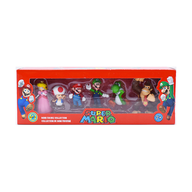 6Pcs/Set 3-7cm Super Mario Bros PVC Action Figure Toys Dolls Mario Luigi Yoshi Mushroom Donkey Kong In Gift Box Lovely Kids Gift 5