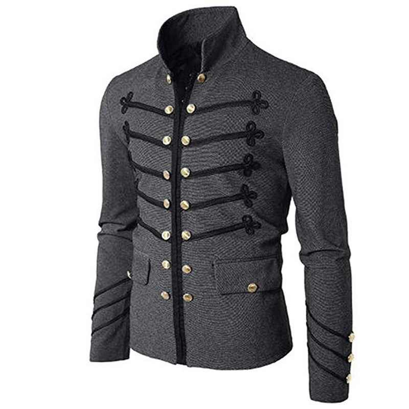 CALOFE осень зима мужские готические куртки стимпанк Туника 2019 Мужской винтажный костюм панка металлический армейский топ с длинными рукавами уличная