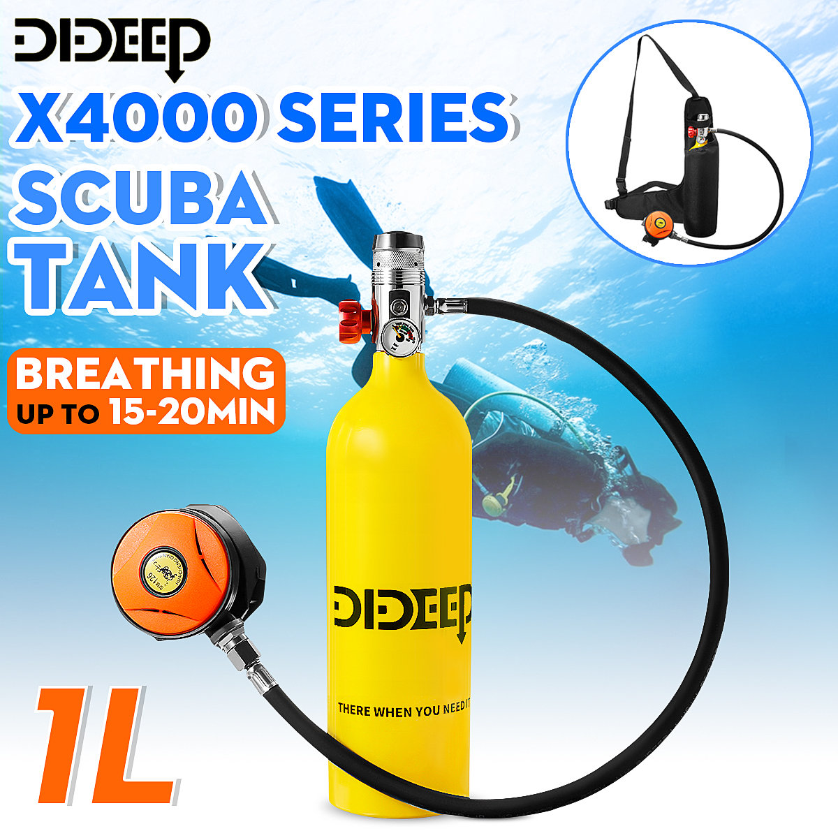 DIDEEP Diving System 1L/0.5L Scuba Oxygen Cylinder Diving Air Tank Scuba Diving Respirator Set Snorkeling Breathing Equipment