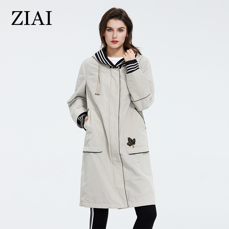 Womens Spring Long Jacket Beige Windproof Warm Maple Leaf Pocket Design Ladies Coat High Quality For Casual AY-9321