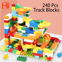 Marble Race Run Block Compatible Duploed Educational Baby Toys Big Size Blocks 80-240 pcs Funnel Slide DIY Toys For Children marble run blocks compatible duploed building blocks funnel slide blocks legoinglys train car diy bricks toys for children gift