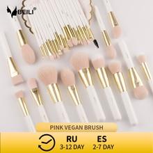BEILI Perla Oro Bianco Professionale di Trucco Sintetico Pennelli set Prodotti Di Base Correttore Sopracciglio Vegan Make up Pennelli