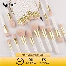 BEILI ensemble de pinceaux de maquillage synthétiques professionnels, brosses de maquillage, Vegan perle et couleur perle, fond de teint, sourcils, correcteur
