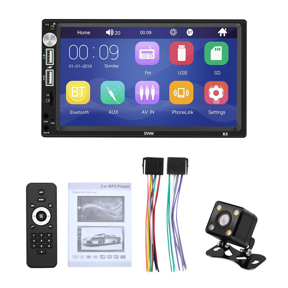 Rear View Camera Bluetooth Car Radio 2 Din AMprime 7-inch Capacitive Touch Screen Mirror Link for iOS//Android Phone FM Receiver MP5 Car Player USB SD AUX-in