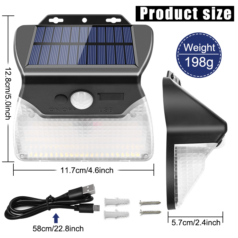 Solar and USB Powered Outdoor Light with 110 LEDs in 3 Lighting Modes and 90 to 120 Degree Sensor Angle 1