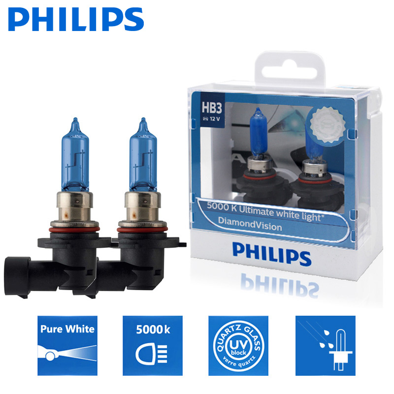 2X Philips HB3 9005 12V 60W P20d Diamond Vision 5000K супер белый светильник автомобильные галогенные лампы Авто головной светильник 9005DVS2