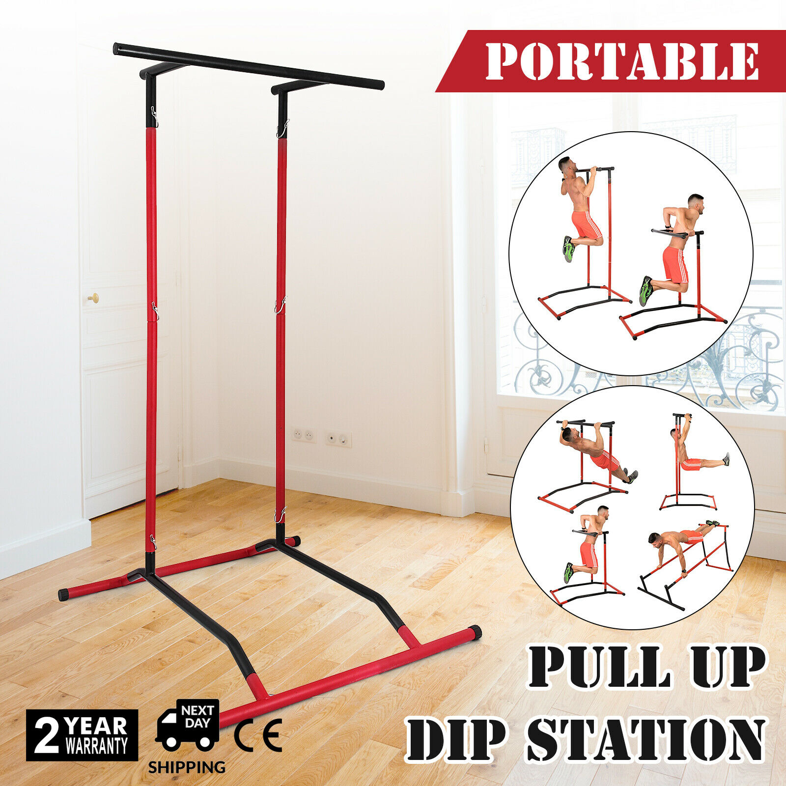 Black Portable Pull Up Dip Station Gym Bar Power Tower Workout Stand Kit PRO