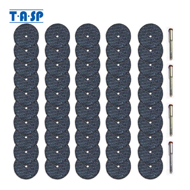 TASP 50 piezas Disco de corte reforzado con fibra de vidrio Juego de ruedas de corte abrasivo Accesorio de herramienta giratoria con mandril de 3,2 mm