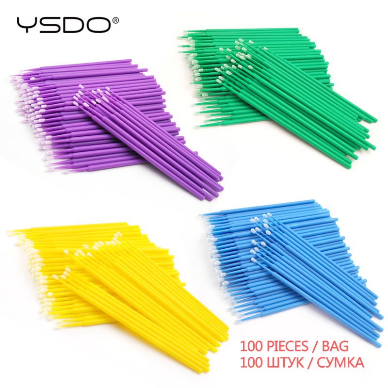 New 100 Pcs Disposable Cotton Swab Makeup False Eyelashes Individual Lashes Mascara Applicators Brush Lash Extension Cotton Swab
