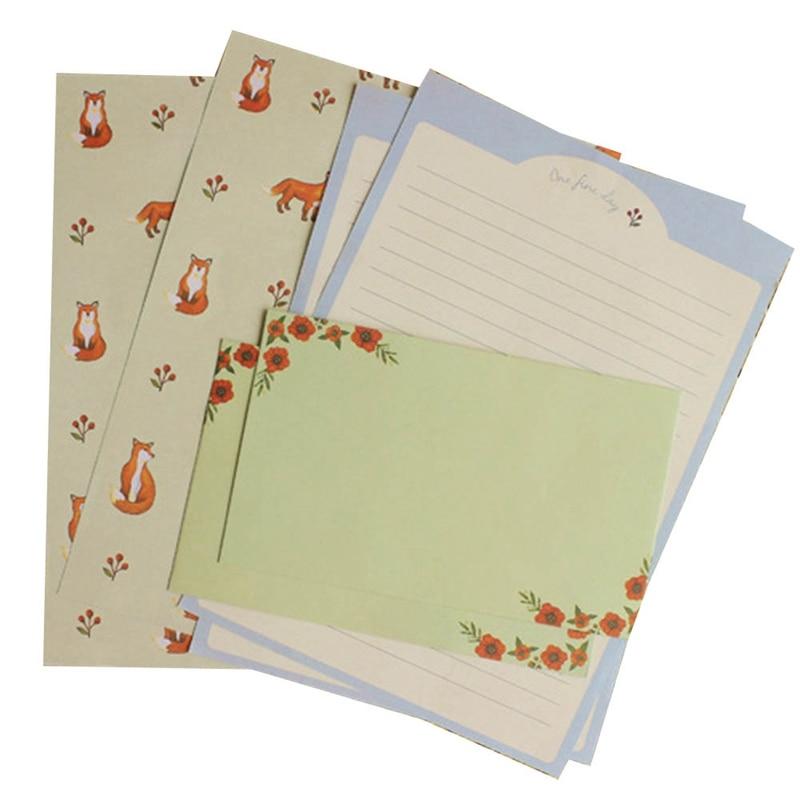 Korean Stationery Kids Gift Envelope Finely Flower Animal Letter Pad Set Letter Paper+Envelopes Sets Writing Paper
