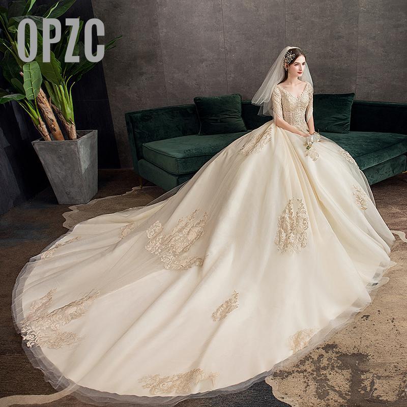 35% Discount New Autumn  Sleeve Wedding Dress Elelgant Court Train Lace Embroidery Princess Vintage Plus Szie Wedding Gowns Vest