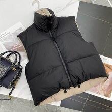 Women Vests Warm Sleeveless Parkas Waistcoats Women Casual High Collar Vest Jacket Female Outerwear Short Cotton Reversible Top