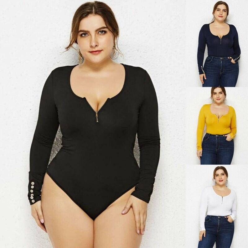 Plus Women Long Sleeve Leotard Jumpsuit Bodysuit Stretch Zip Blouse Tops Playsuit