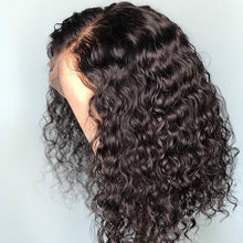 Onda de água curto bob frente do laço peruca de cabelo humano jerry encaracolado malaio barato perucas para preto feminino glueless profunda do laço t parte peruca