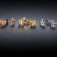 Pure Solid 18k Gold Earrings Women Luck Hollow Flower Stud Earrings 7mmW 18K Yellow / Rose / White Gold