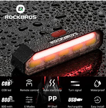 все цены на ROCKBROS Bicycle Cycling Taillight COB LED Powerful USB Rechargeable Bike Tail Light Turn Signal Remote Control Lamp Rear Light онлайн