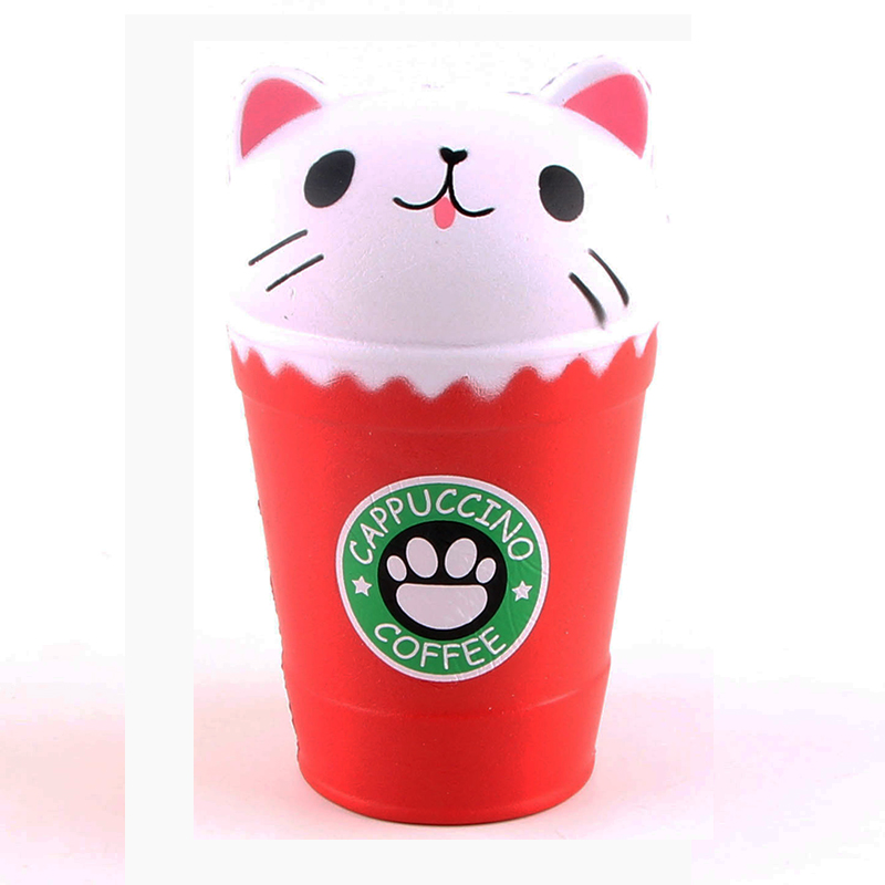 14cm Squishy Coffee Cat Cup Fragrant PU Squeeze Anti Stress Toys Crative Soft Cartoon Squishies