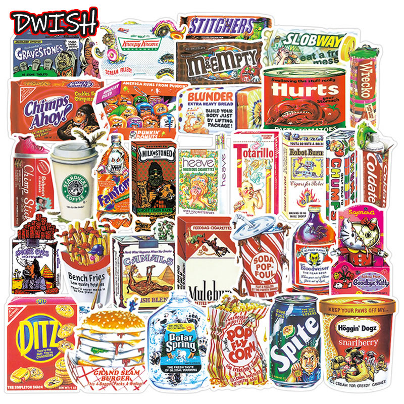 DWISH 10/38pcs Cartoon Spoof Food Packaging Stickers Waterproof Luggage Guitar Laptop Skateboard Funny Graffiti Sticker Kids Toy