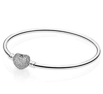 цена на Real 925 Sterling Silver Bangle Moments Pave Heart Clasp Crystal Bracelet Bangle Fit Women Bead Charm Diy Fashion Jewelry