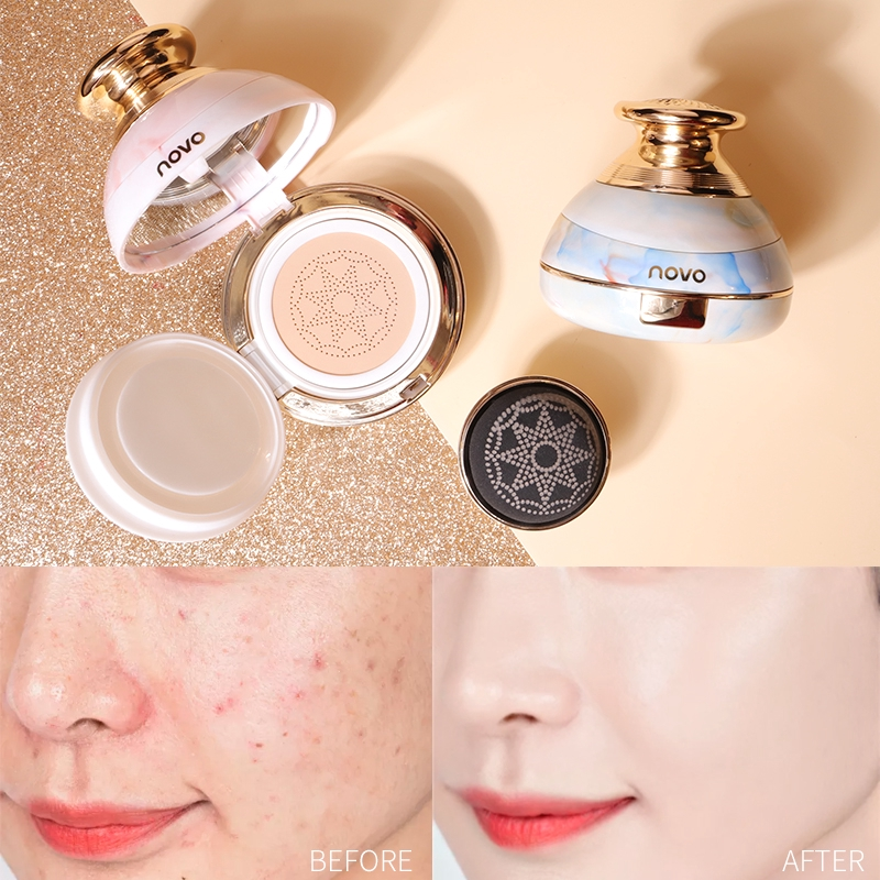 NOVO BB CC Cream Brighten Liquid Concealer Moisturizing Shrink Pores Cushion Cream Cushion Foundation