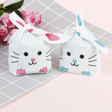 Hot New Cheap Wholesale 50pcs Cute Long Bunny Rabbit Ear Gift Bag Easter Candy Gift Plastic Party Favors 10*17cm