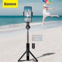 Baseus bluetooth vara selfie mini câmera tripé de vídeo sem fio monopé equilíbrio lidar com câmera esportiva para iphone ios android