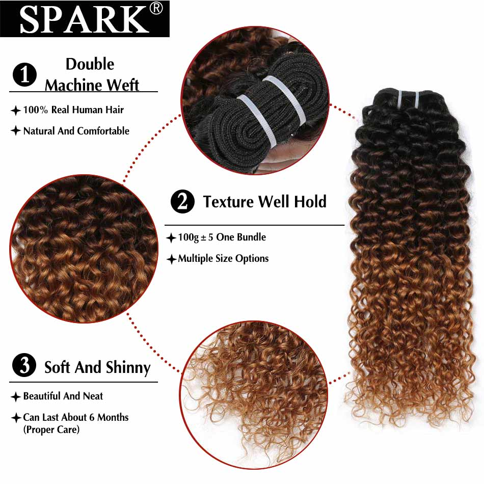 Image 4 - Spark Three Tone Ombre Brazilian Hair Kinky Curly Human Hair Bundles Extensions 10 26inch 1/3/4 Bundles Remy Hair Weave L-in Hair Weaves from Hair Extensions & Wigs