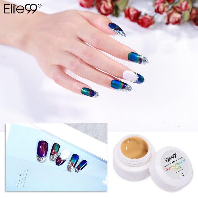Elite99 Thermochromen Flüssigkeit Kristall Farbwechsel Gel Nagellack Schwarz Farbe Benötigt Tränken Weg Nail art Maniküre Gel Lack