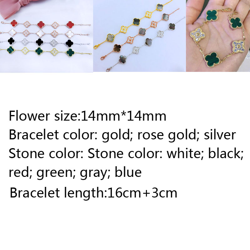925 sterling silver bracelet high-end fashion romantic 5 flower clover bracelet inlaid stone jewelry fashion wild jewelry