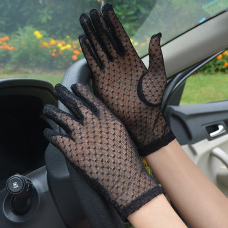 Elegant Women Ultra-thin Short Summer Driving Cycling Sexy Black Sunscreen Gloves Female Anti-UV Elasticity Lace Mesh Gloves H98