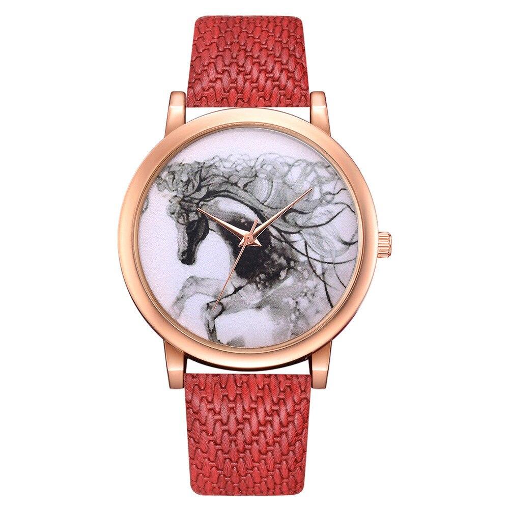 White Horse Pattern Imitation Rattan Leather Band Woman Fashion Analog Quartz Round Wrist Watch Watches Montres Femmes Relojes