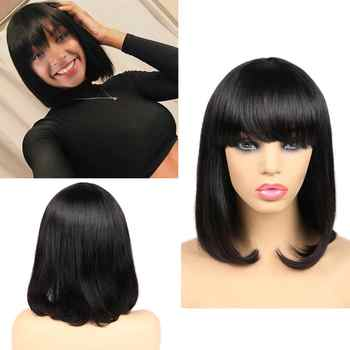 FAVE Short Bob Wigs Brazilian Human Hair Wigs 150% Density Short Cut Straight Wig With Bangs Bob Shoulder Wig For Black Women - DISCOUNT ITEM  54% OFF All Category