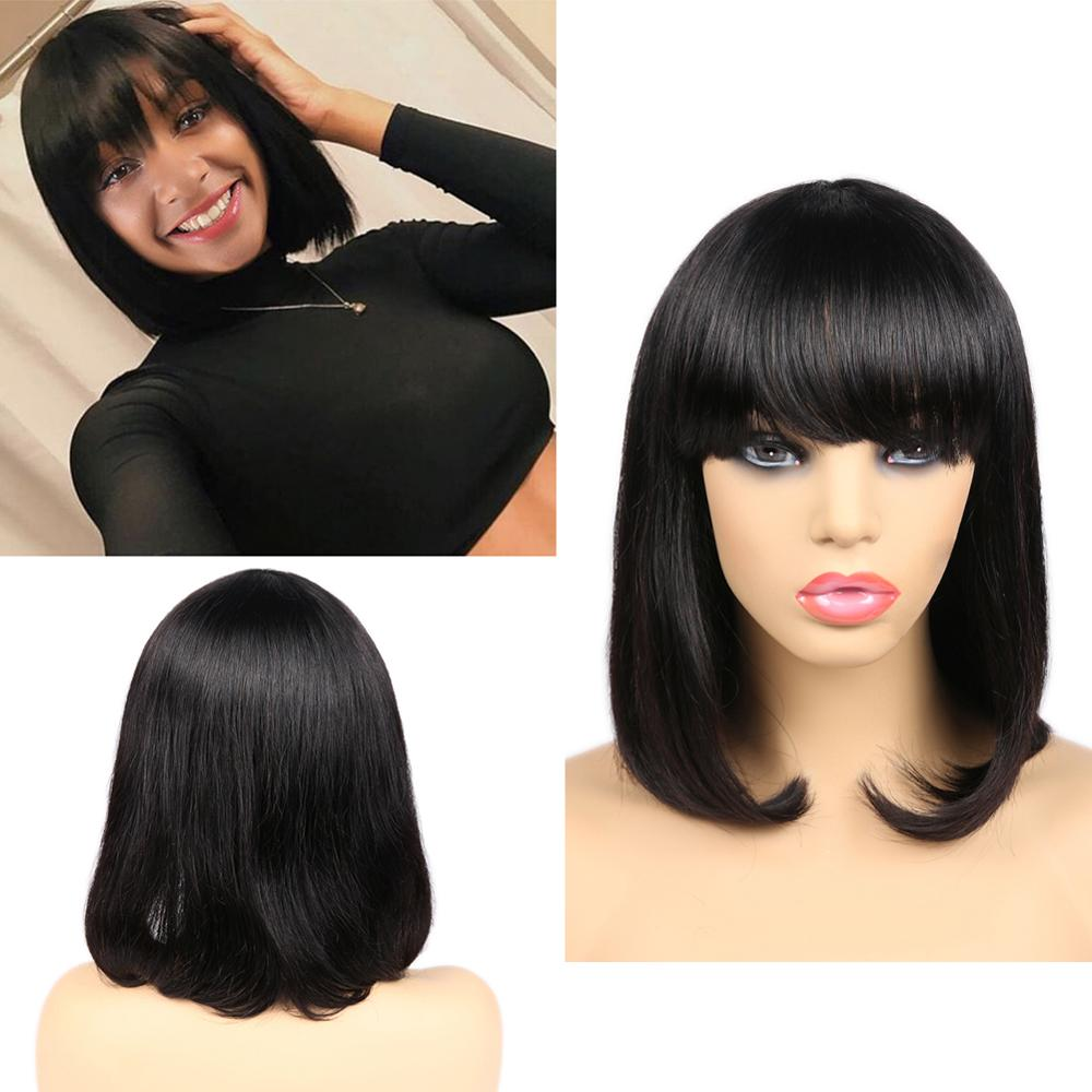 FAVE Short Bob Wigs Brazilian Human Hair Wigs Natural Black Short Cut Straight Wig With Bangs Bob Shoulder Wig For Black Women title=