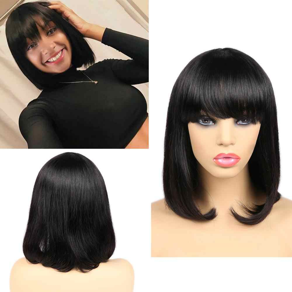 FAVE peruki z krótkim bobem brazylijski ludzki włos peruki naturalny czarny krótki Cut prosto peruka z grzywką bob ramię peruka dla czarnych kobiet