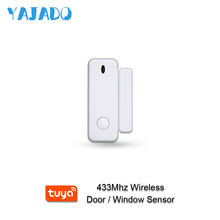 YAJADO 433MHz Wireless Door Window Sensor Tuya Smart Door Magnet Window Detector Sensor Alarm for Home Security Alarm System