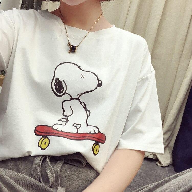 Women's Print Cartoon Snoopy Cute Tshirt 2019 Summer Slim   T     Shirt   Famale
