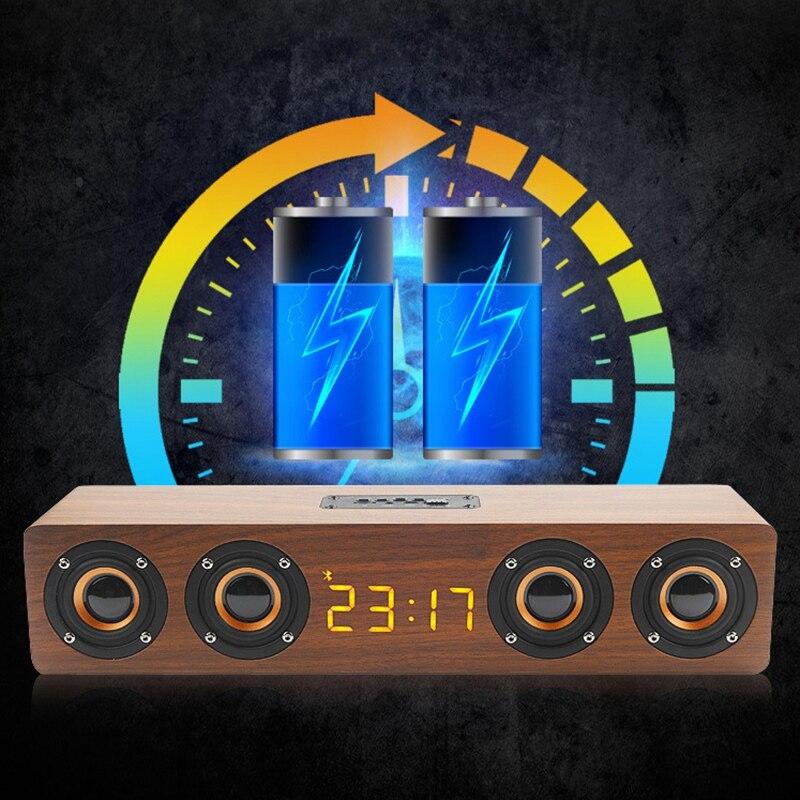 Holz Tragbare Uhr Drahtlose Bluetooth Lautsprecher Stereo PC TV System Lautsprecher Desktop-Lautsprecher Sound Post FM Radio Computer Speake